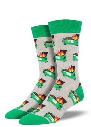 Dumpster fire socks for men with flaming trash cans