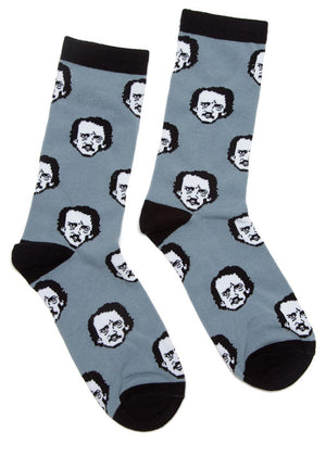 Edgar Allan Poe socks for women with Poe's face as polka dots on gray socks