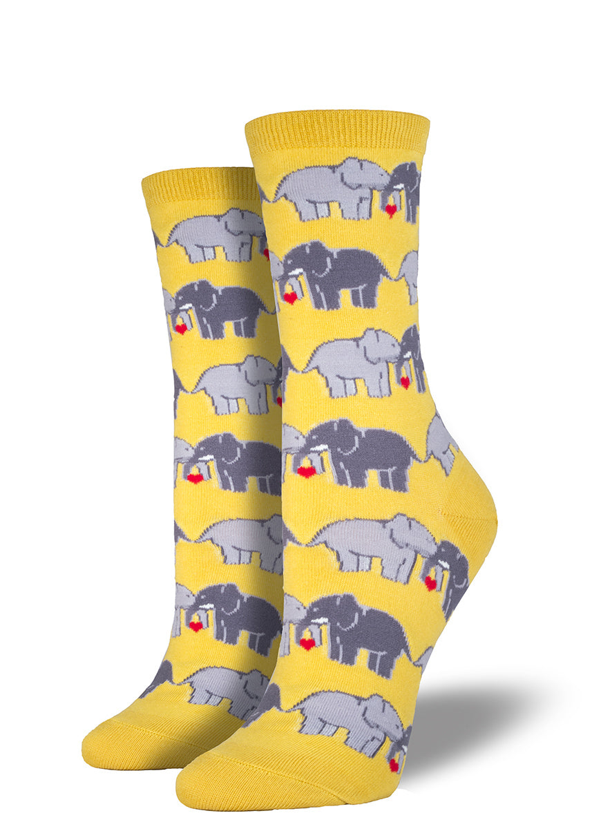 Feel the elephant love in these cute women's crew socks!