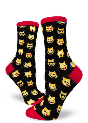 Funny cat emoji socks for women with emoji cats winking, smiling and sleeping.