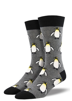 Emperor penguin socks for men have happy penguins for your feet.