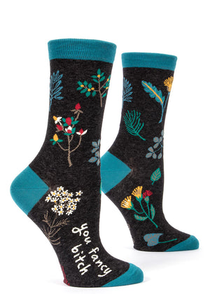 "Women's floral socks that say ""you fancy bitch""!"