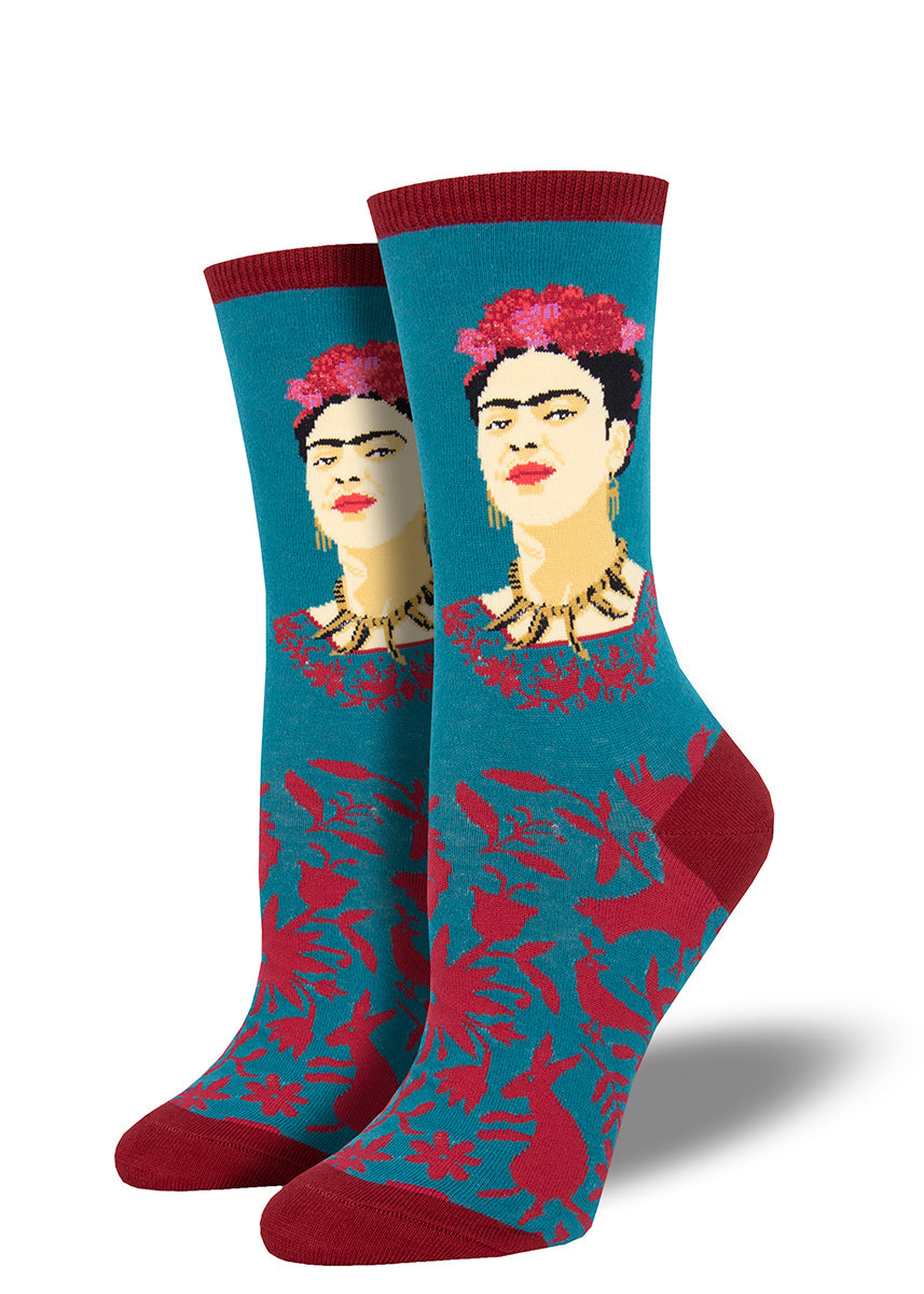 Fun Frida Kahlo socks for women with Frida looking fearless and fierce