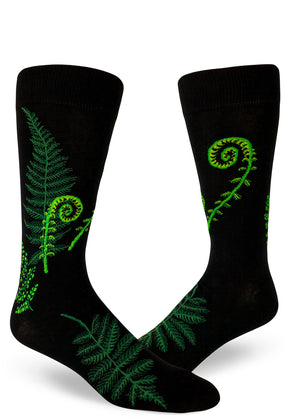 Fern socks for men with ferns and fiddleheads like in the Pacific Northwest in green on a black background