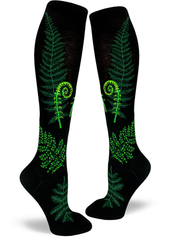 Fern knee socks for women with ferns and fiddleheads on a black background