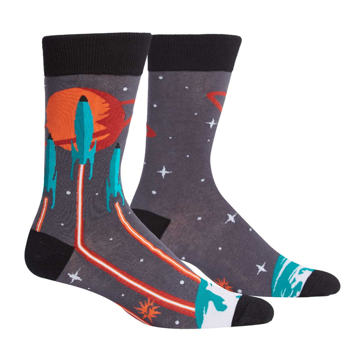 These space socks for men show a rocket launch from Earth headed toward distant planets.