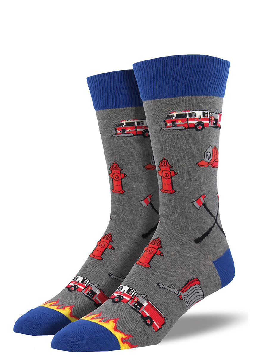 Men's firefighter socks with firetrucks and fire hydrants
