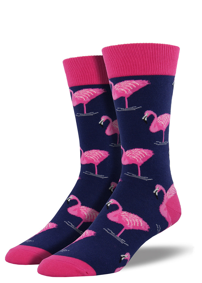 Flamingo socks for men with pink flamingoes on navy blue men's socks