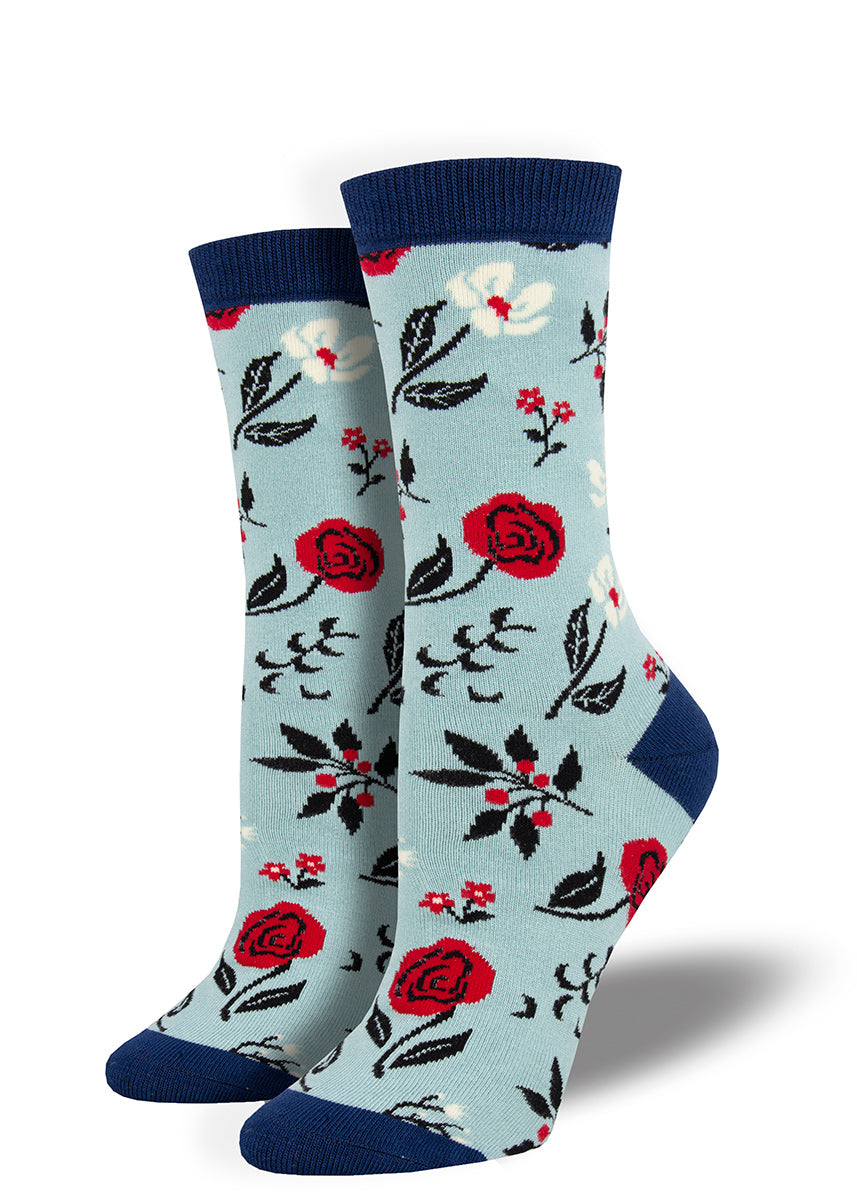 Cute floral bamboo socks with flowers and a retro wallpaper vibe