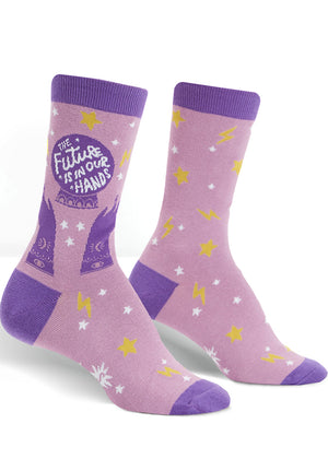 Fortune teller socks for women with crystal ball, psychic hands and magic