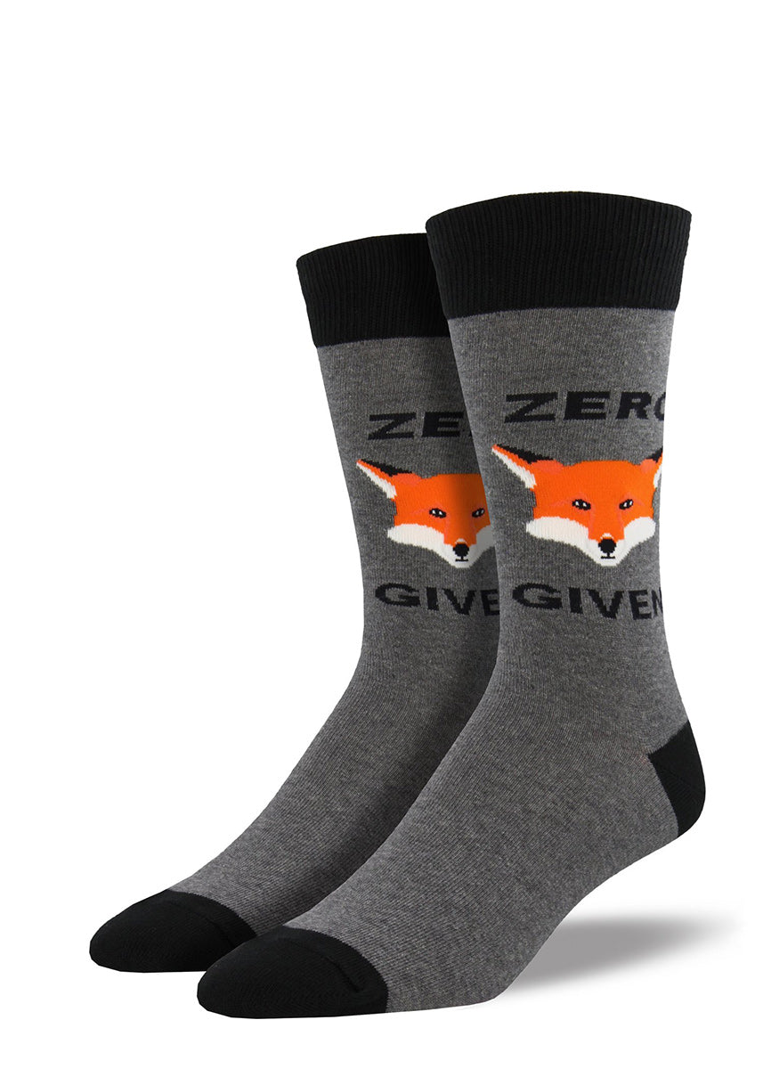 "Extra-large crew socks for men say ""Zero Fox Given"" with a fox face in the middle!"