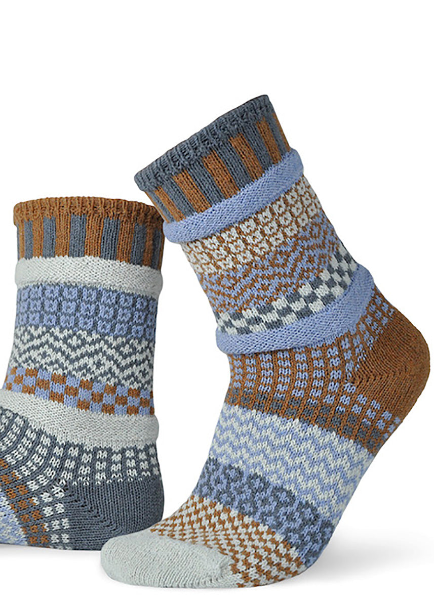 Mismatched socks from Solmate Socks in Foxtail pattern with brown and pale blue