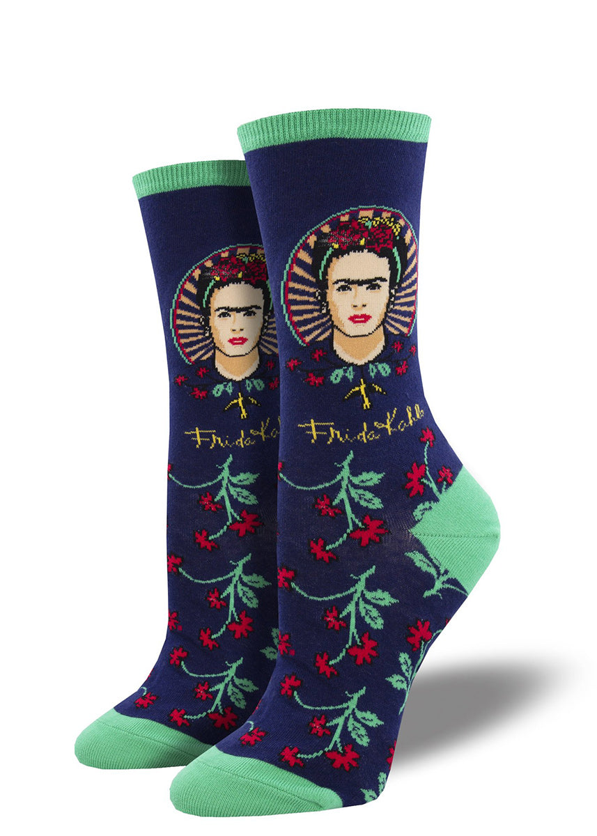 Art socks for women feature a portrait of famous artist Frida Kahlo with flower details below.