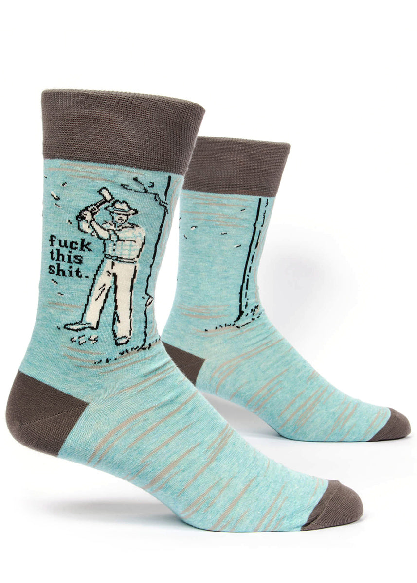 "Funny ""Fuck this Shit"" socks for men with swear words and lumberjacks on light blue socks."