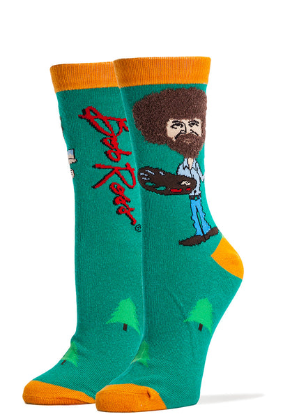 Funny Bob Ross socks with fuzzy hair and beards you can touch