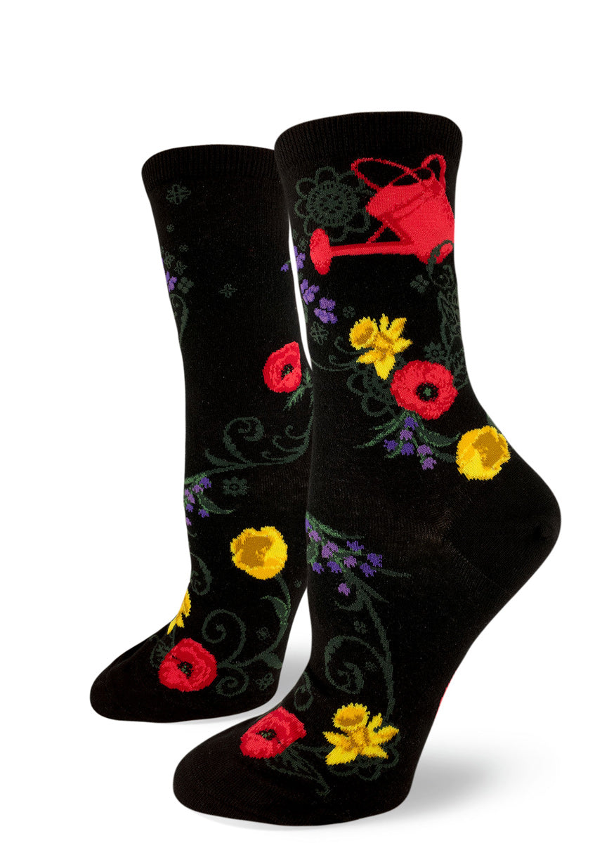 427c8222a Gardening socks for women with flowers and a red watering can on a black  background