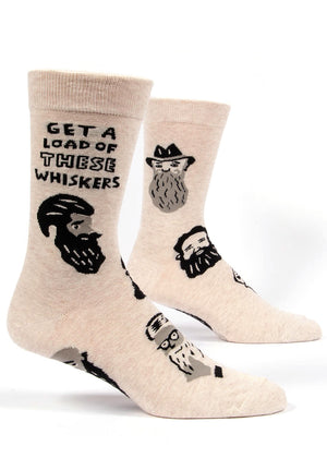 "Funny beard socks for men with mustaches and beards and the words ""Get a load of these whiskers."""
