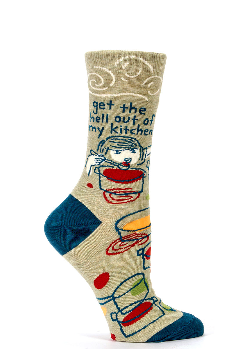 "Get cooking in ""Get the hell out of my kitchen"" funny women's socks."
