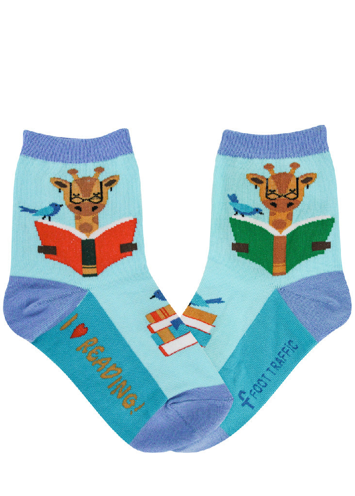 "Socks for kids show giraffes reading, stacks of books, and the words, ""I love reading!"""