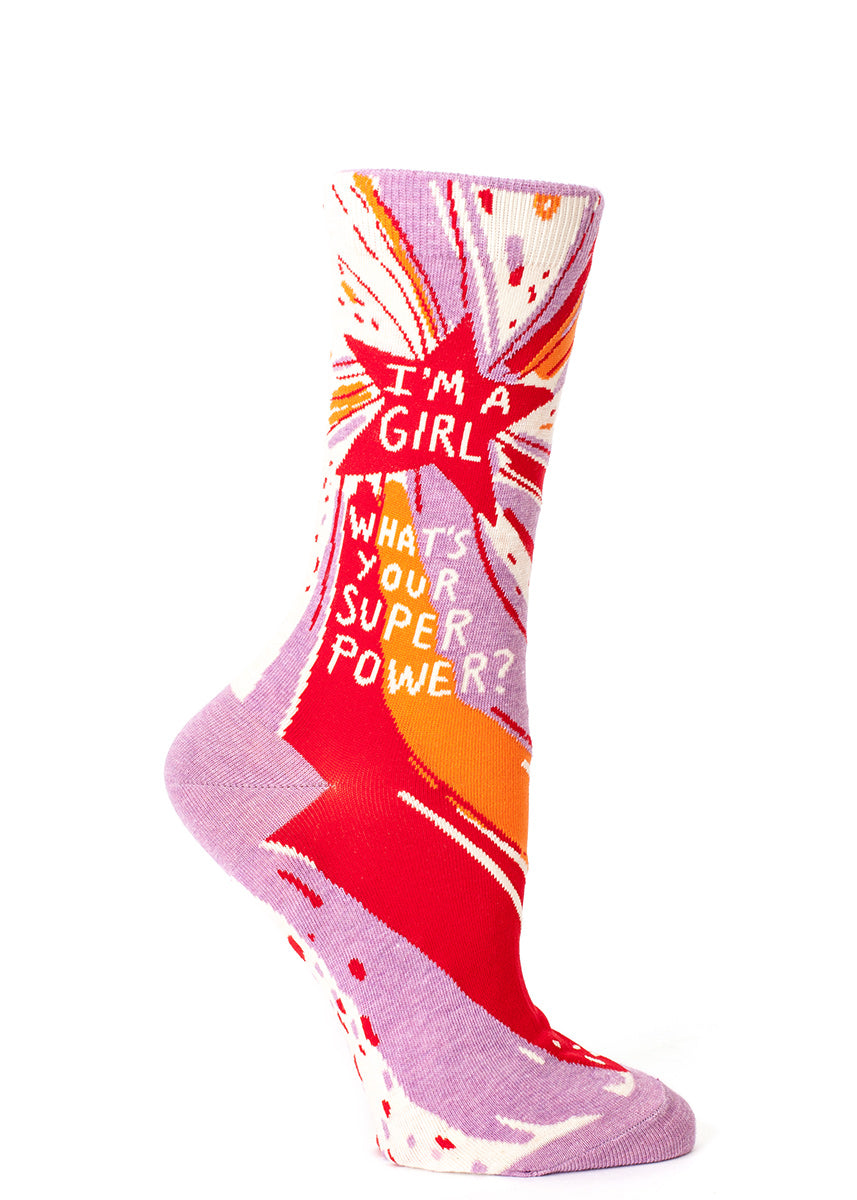 "Feminist socks for women that say ""I'm a girl - what's your super power?"""