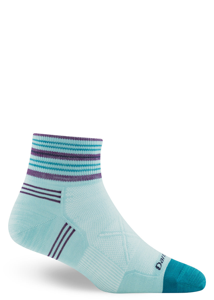 Light blue wool ankle socks for women.