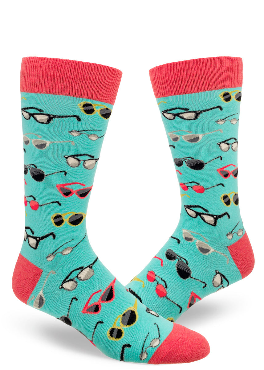 Fun crew socks for men covered in different styles of sunglasses.