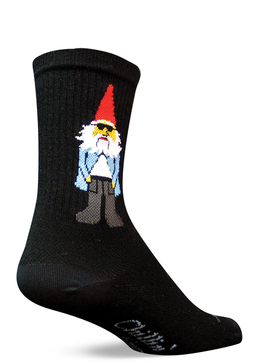 "These funny gnome socks for men and women feature a cool garden gnome with sunglasses. The bottoms of the socks say ""Chillin' with my gnomies."""
