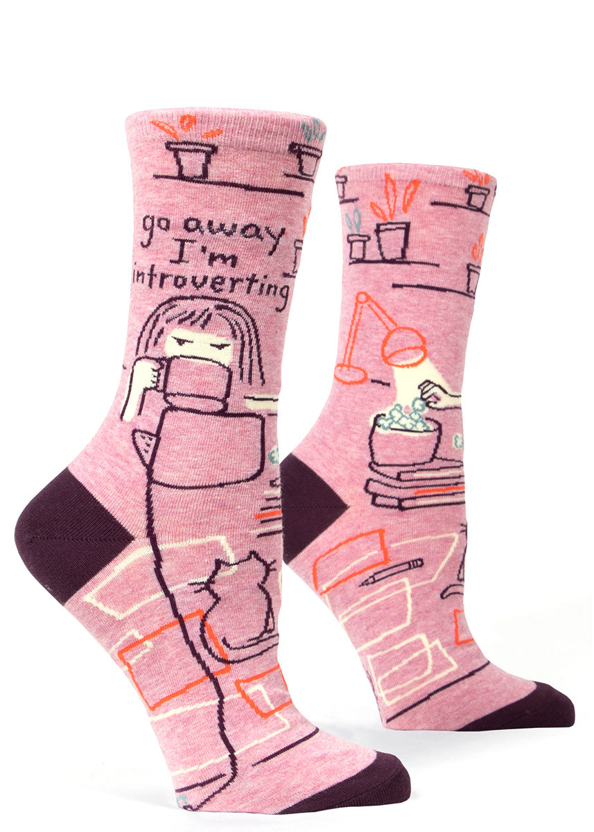 "Funny women's socks that say ""Go away I'm introverting"" with a cat and coffee."