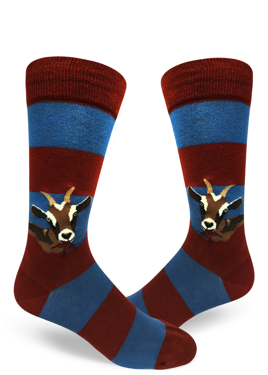 Goat socks for men with goats eating the striped on these red and blue striped socks