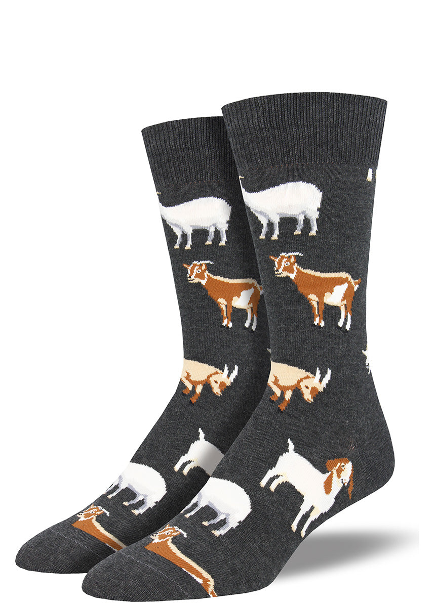 Charcoal gray goat socks for men with goats of different colors and breeds.