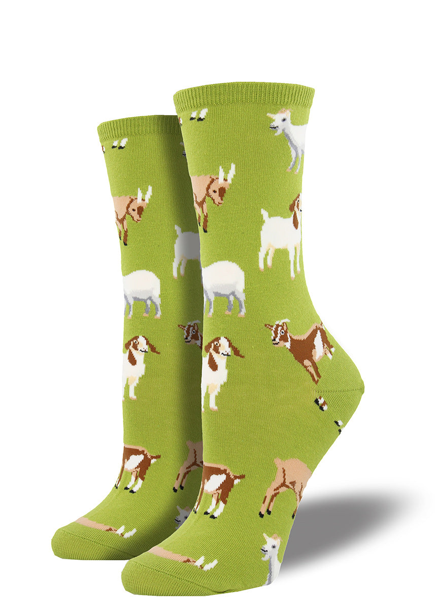 These short green goat socks are farm fresh and ready to rock.