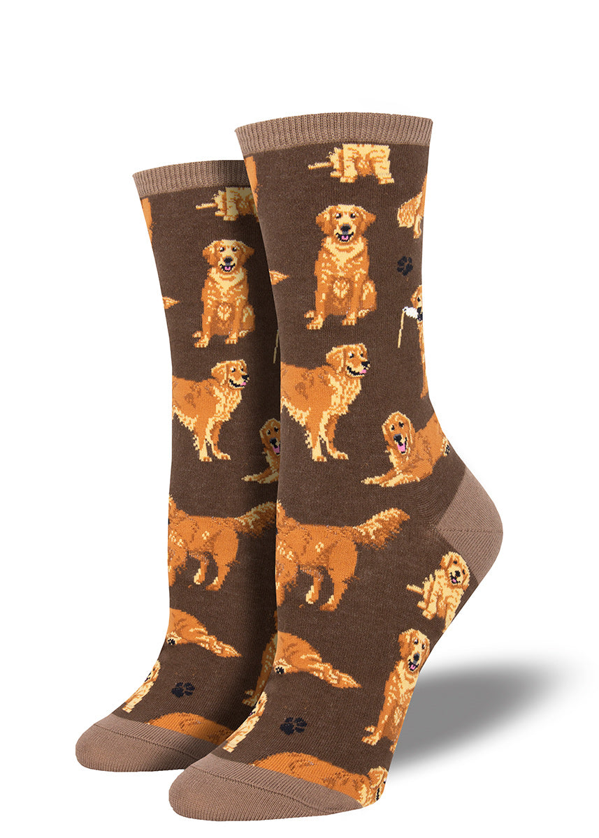 Golden retriever socks for women with cute dogs on a brown background