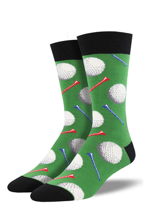Golf socks for men with golf balls and golf tees.
