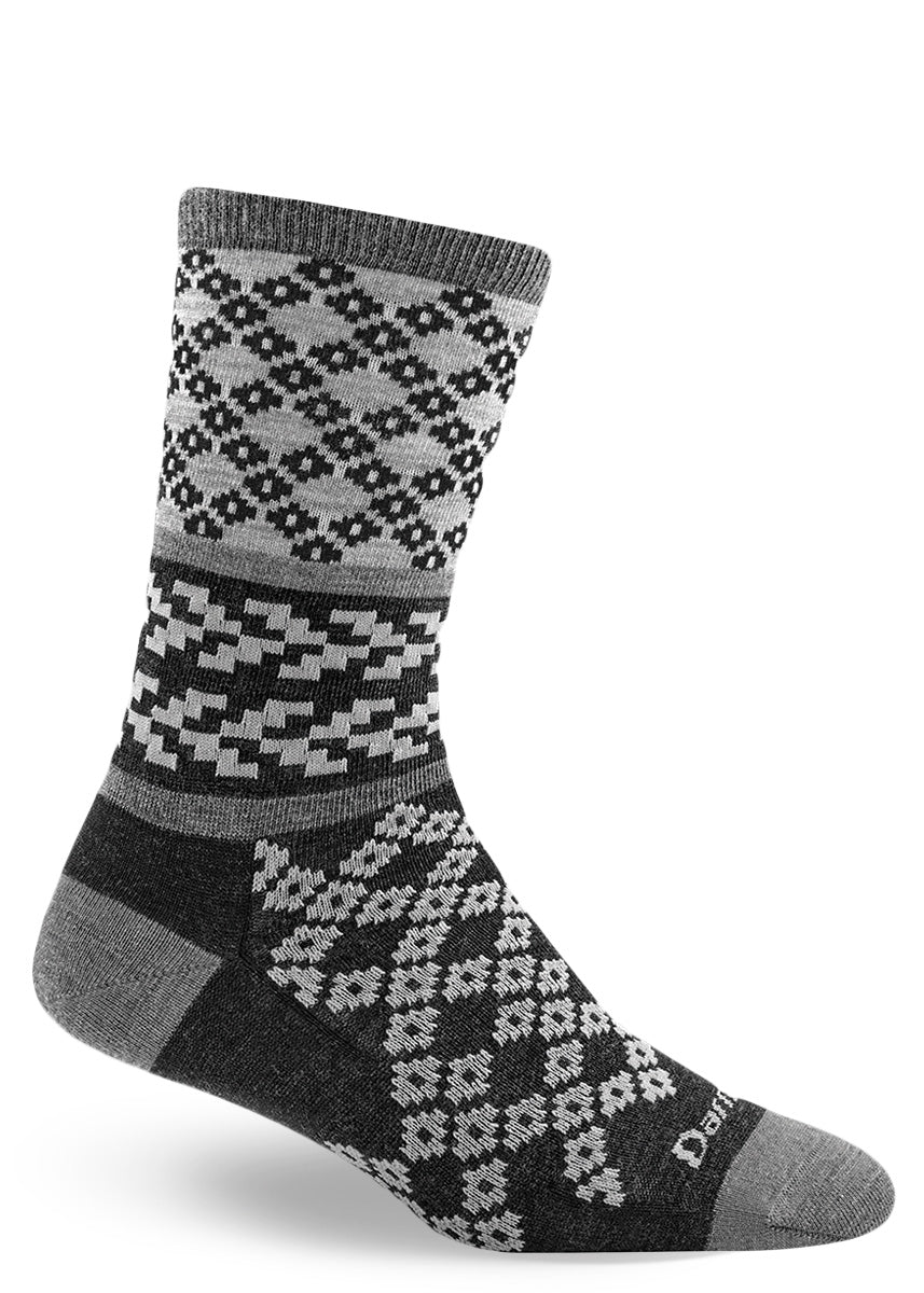 Diamond and chevron pattern socks for women made from merino wool
