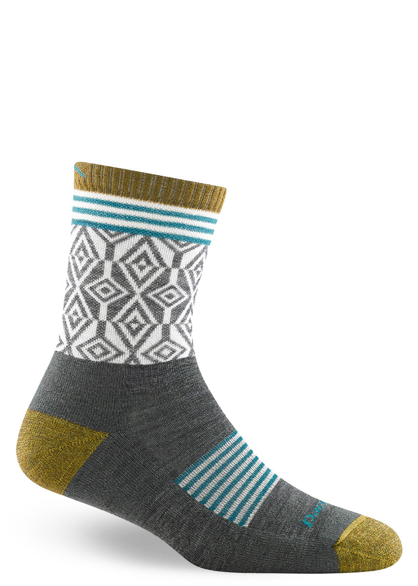 Cushioned wool socks for women feature funky diamond patterns in white and charcoal with a heather yellow cuff, heel, and toe.