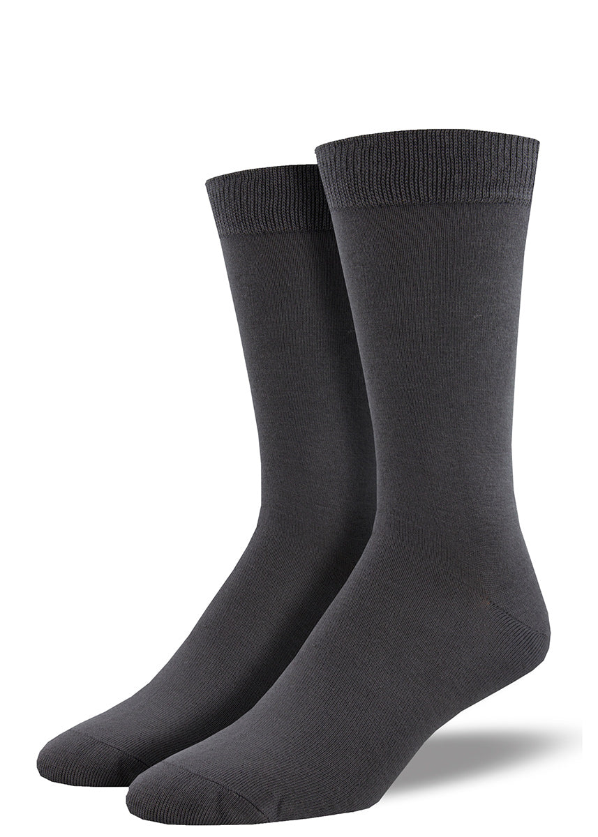 Bamboo dress socks for men come in a solid charcoal gray.