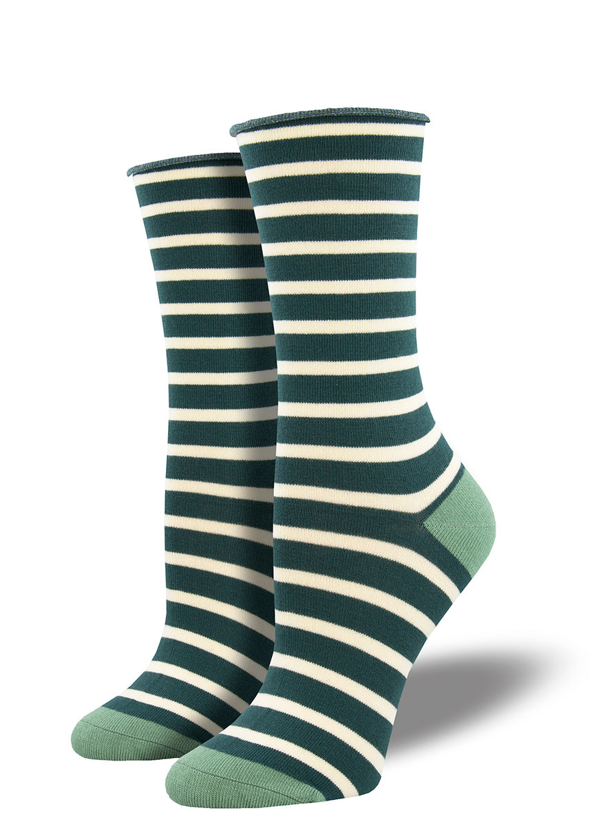 Bamboo socks for women feature dark green and white stripes with a roll-top cuff.