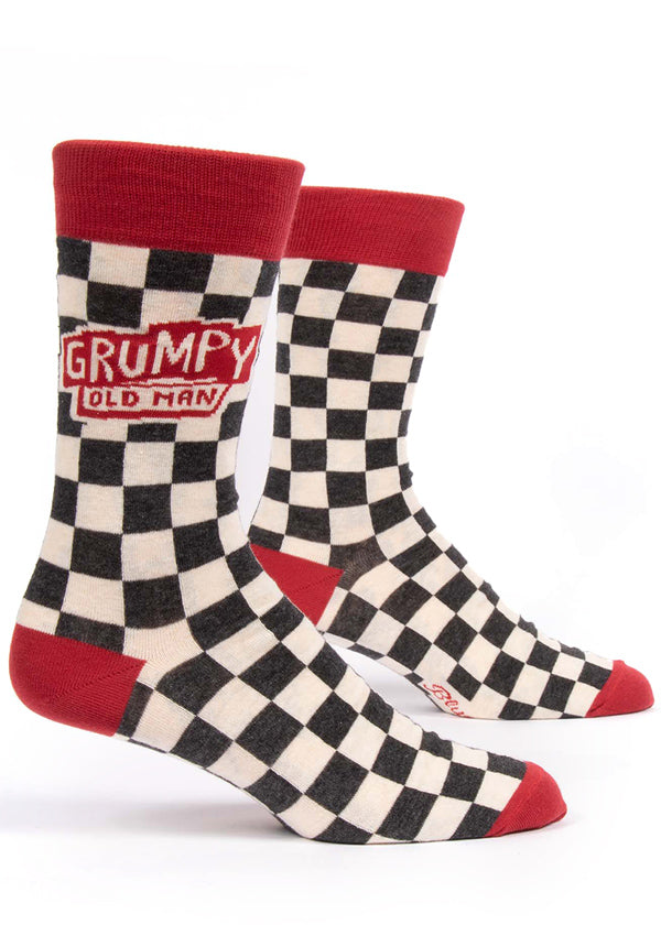 "Funny ""Grumpy Old Man"" socks for men with checkers"