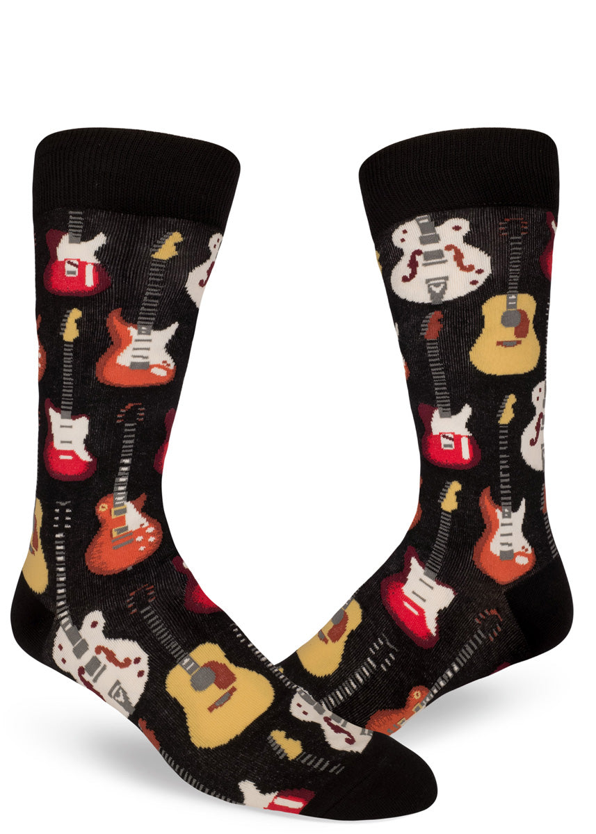 Guitar socks for men with classic guitars for musicians.