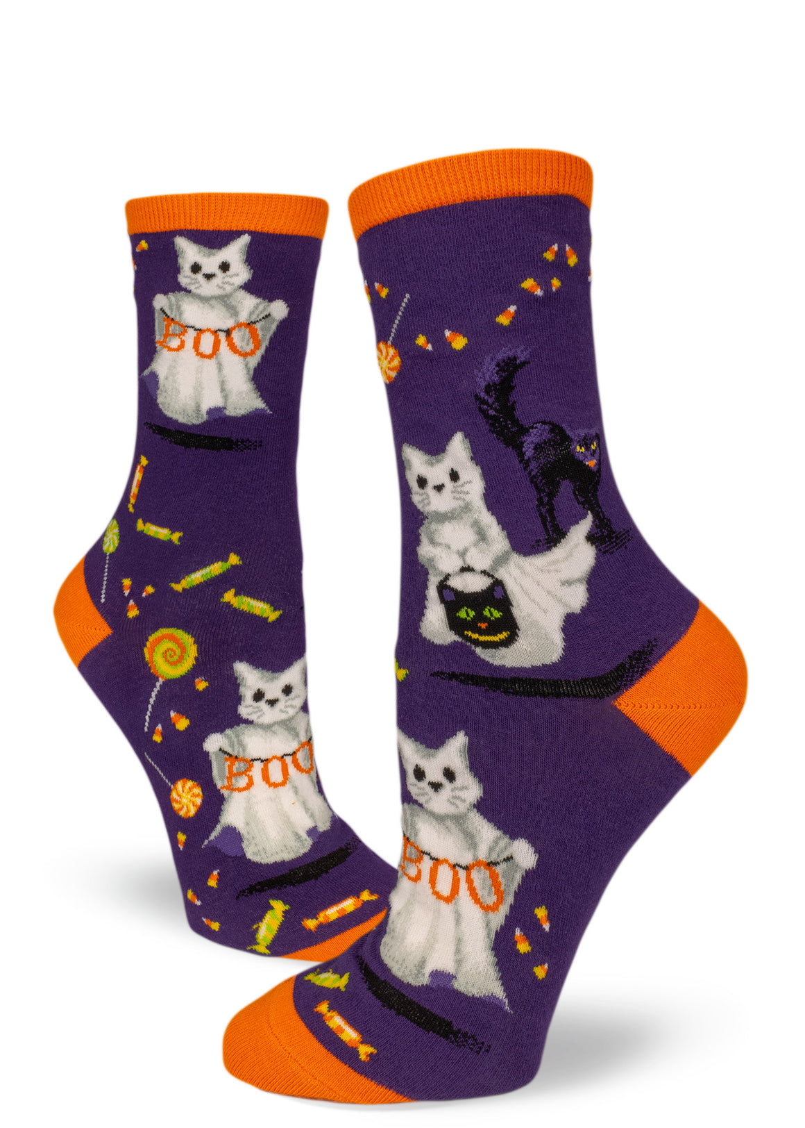 Cat ghosts trick-or-treat on Halloween socks in purple and orange.