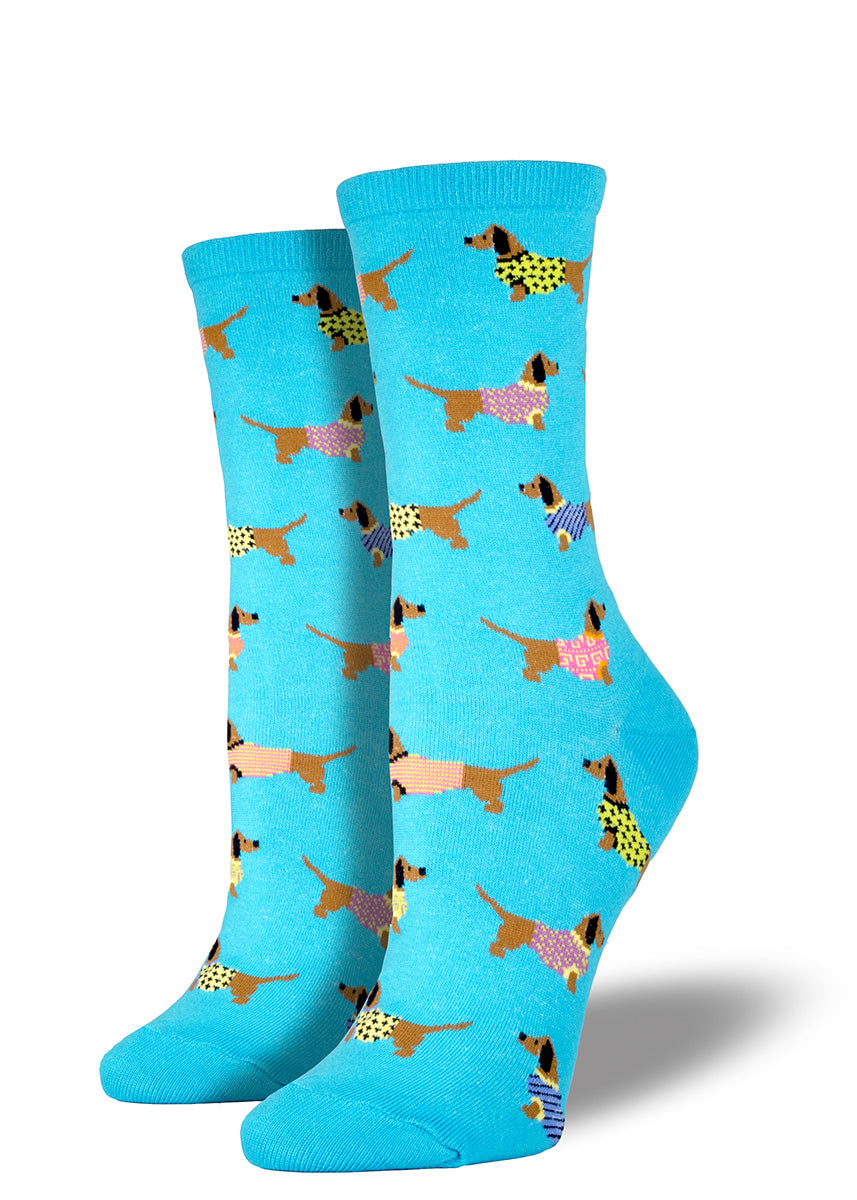Keep your wiener dogs warm in sweaters, and your feet warm in these dachshund crew socks.