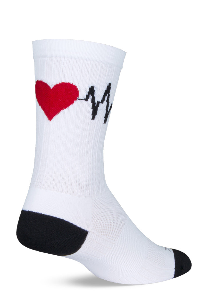 Performance socks for healthcare workers feature a heartbeat design.