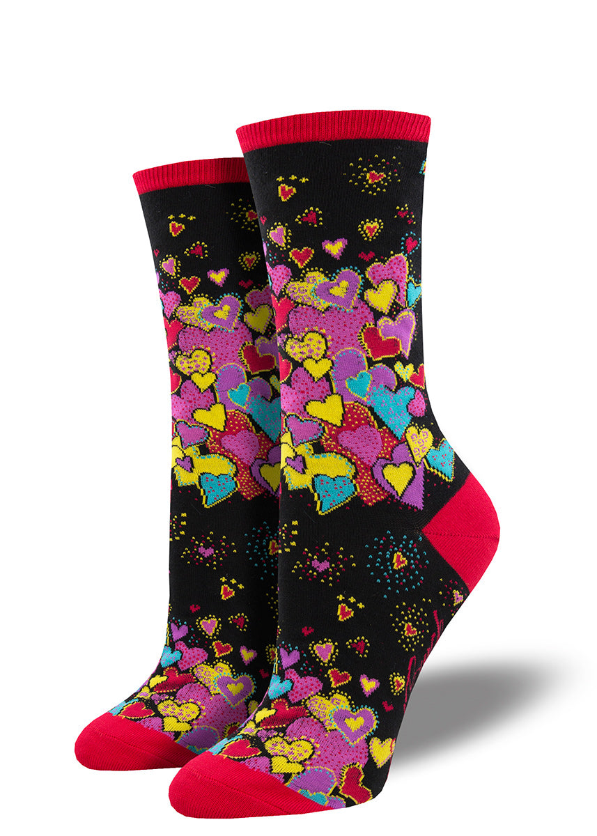 Laurel Burch crew socks for women are covered in colorful shining hearts.
