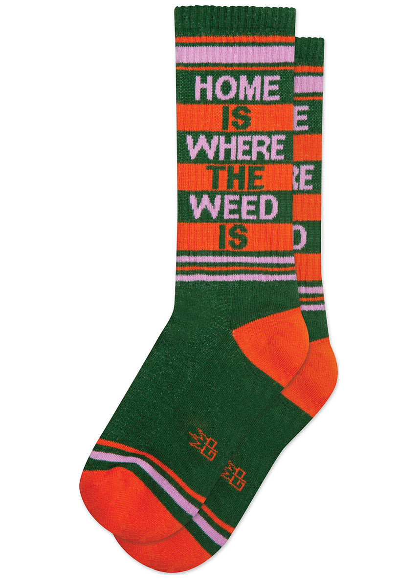 "Orange and green retro gym socks that say, ""Home is where the weed is."""