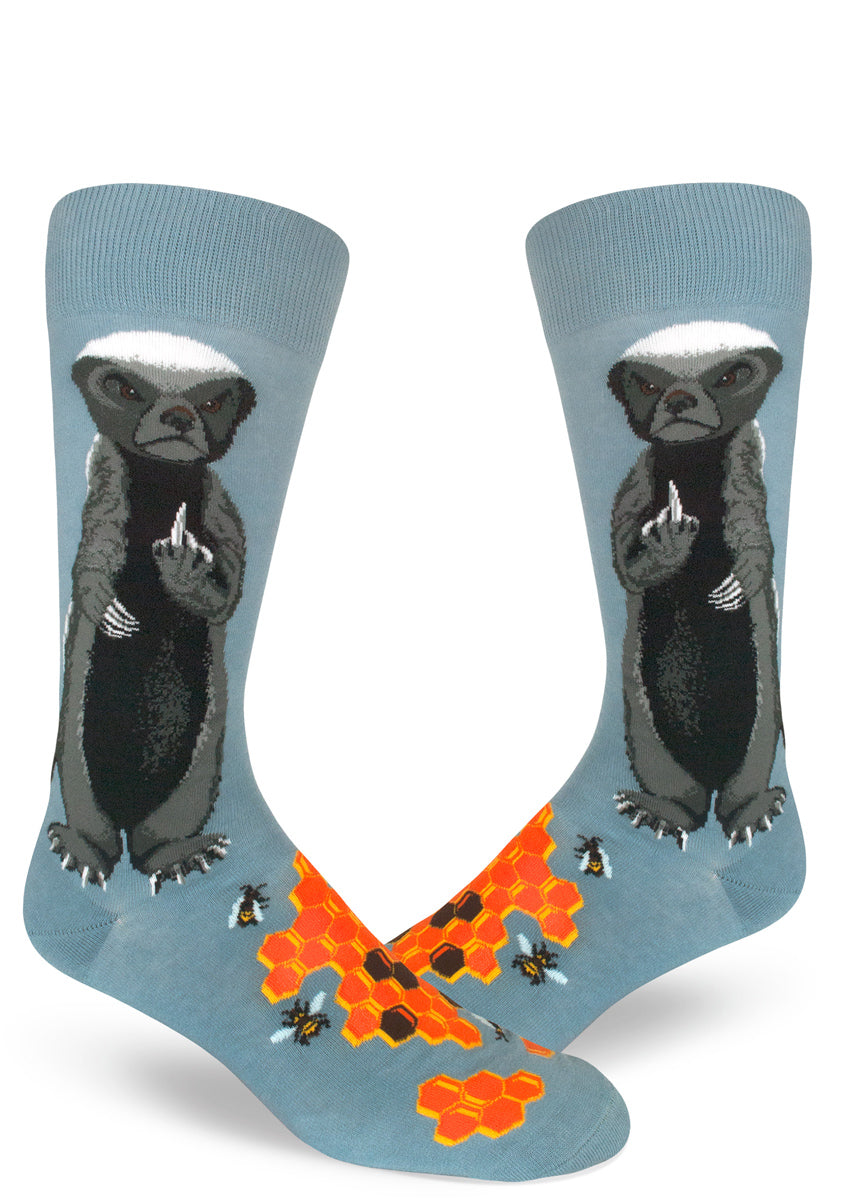 Funny honey badger socks for men with honey badgers who don't care flipping middle fingers with bees and honeycomb
