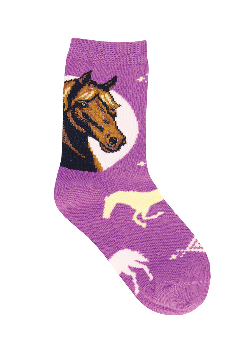 Cute animal socks for kids feature a bust portrait of a brown horse and pastel horse silhouettes.
