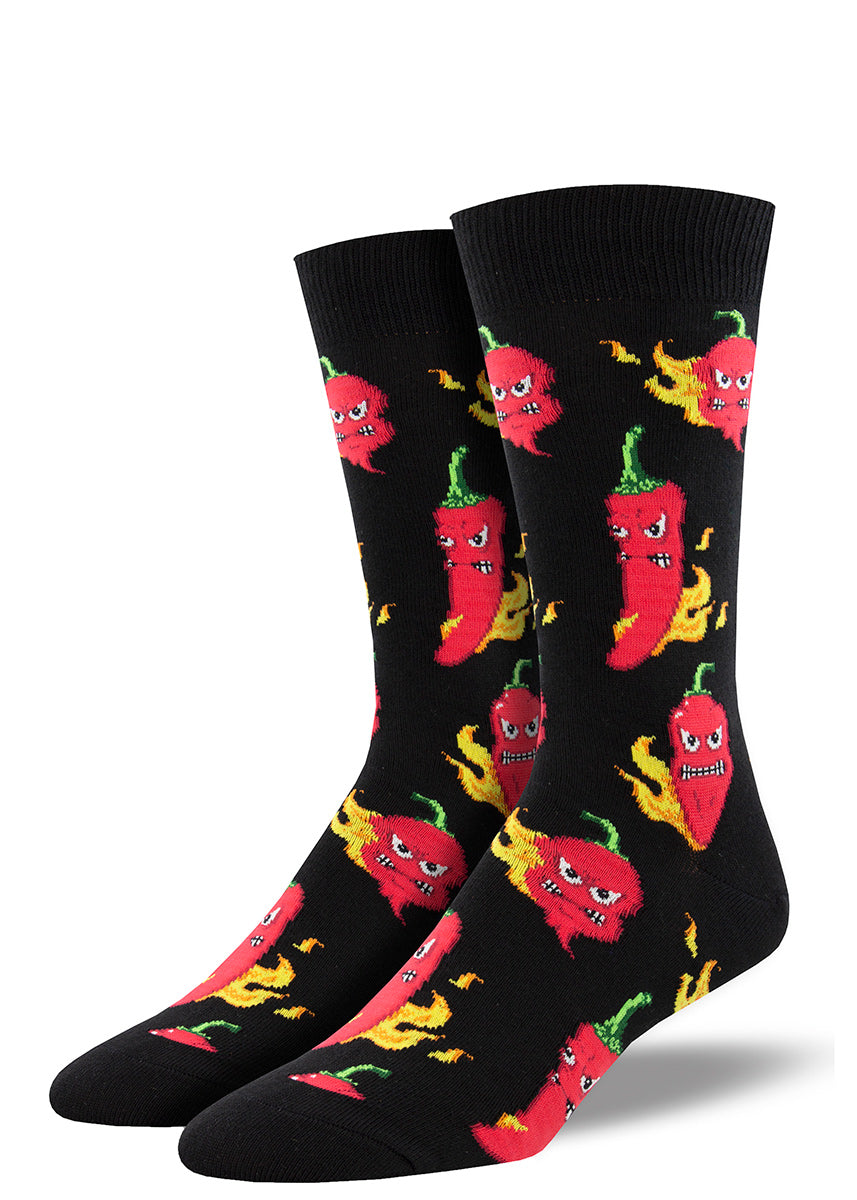 Red chili peppers with funny faces are literally on fire on these socks for men.