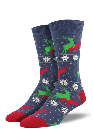 Reindeer get it on between snowflakes on these funny men's Christmas socks.