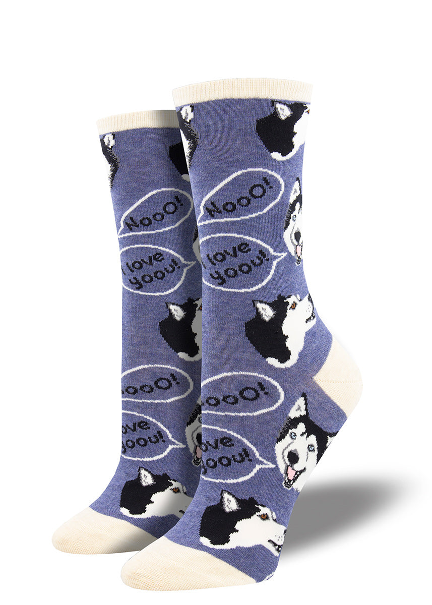 "Funny dog socks for women show huskies with word bubbles that say ""Noo!"" and ""I love youu!"""
