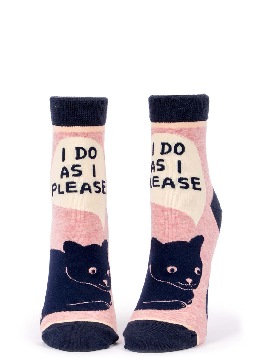 "Cute clack cat ankle socks for women with a sassy cat that says ""I do as I please."""
